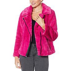 G by Giuliana Black Label Faux Fur Moto Jacket