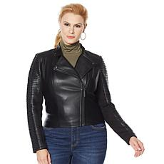 G by Giuliana Black Label Faux Leather Moto Jacket with Twist Detail