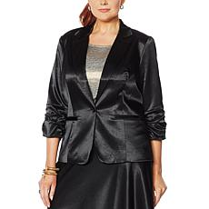 G by Giuliana Black Label Satin Boyfriend Blazer