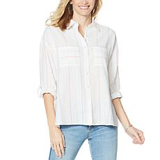 G by Giuliana Button-Down Pinstripe Top