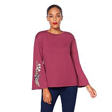 G by Giuliana Embroidered Bell-Sleeve Sweatshirt