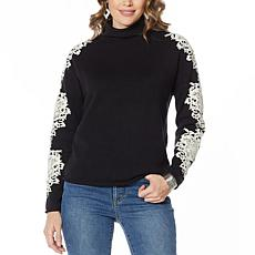 G by Giuliana Lace Appliqué Sweater