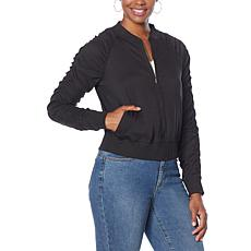G by Giuliana LounGy Tech Ruched Bomber Jacket