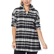G by Giuliana Oversized Plaid Button-Front Flannel Shirt