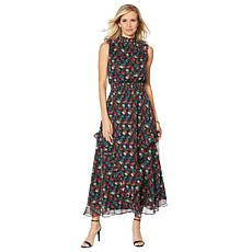 G by Giuliana Printed Ruffle Maxi Dress