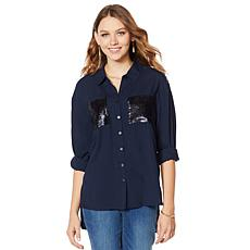 G by Giuliana Sequin Pocket Button-Front Shirt