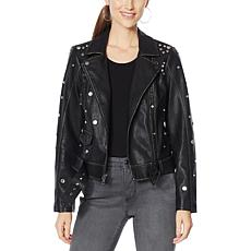 G by Giuliana Studded Faux Leather Jacket