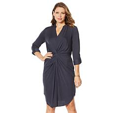 G by Giuliana Twist-Front Knit Shirt Dress