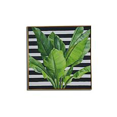 "Gallery 57 Banana Leaves Black Stripe 29"" x 29"" Floating Frame Canvas"