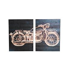 """Gallery 57 Motorcycle Diptych 24"""" x 36"""" Print on Wood"""