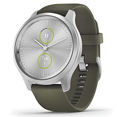 Garmin Vivomove Style Hybrid Smartwatch in Silver and Moss
