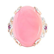 Gems by Michael 18K Rose Goldtone Pink Conch Shell and Rhodolite Ring