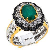Gems by Michael Belmont Emerald, White Zircon & Black Spinel Oval Ring