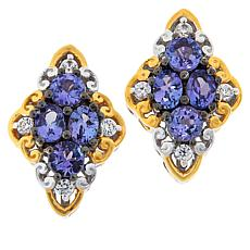 Gems by Michael Colored Gemstone and Zircon Cluster Stud Earrings
