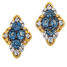 Gems by Michael Exotic Blue Aquamarine & Zircon Cluster Stud Earrings
