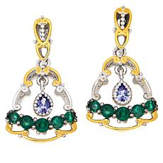 Gems By Michael Grizzly Emerald and Tanzanite Drop Earrings