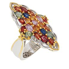 Gems by Michael Multi-Color Sapphire and Ruby Cluster Ring