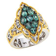 Gems by Michael Sterling Silver Alexandrite and Diamond Cluster Ring