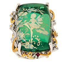 Gems by Michael Sterling Silver Carved Green Amber and Ruby Ring