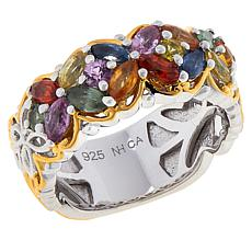 Gems by Michael Sterling Silver Multi-Color Sapphire Cluster Band Ring