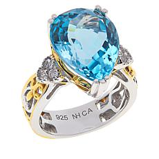 Gems by Michael Sterling Silver Pear-Shape Gemstone and Zircon Ring
