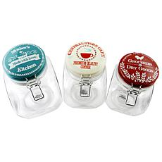 General Store Lake House 3 pc Preserving/Storage Jar Set W/Wire Bai...