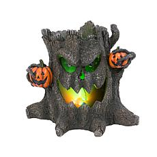 "Gerson 12.4"" Tall Electric Resin Smoking Haunted Tree Stump"