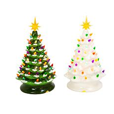 """Gerson 2-pack 13.9"""" Musical Christmas Trees"""
