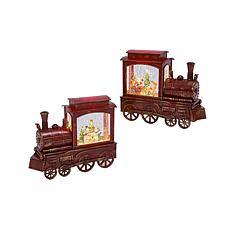 Gerson 2-piece Holiday Train Snow Globe Set with Timer Feature
