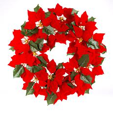 "Gerson 24""Dia. Lighted Poinsettia Wreath with 45 Warm Micro LED Lights"