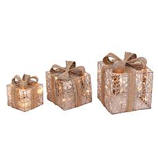 Gerson 3-piece Battery Operated Lighted Holiday Jewel Gift Box Decor