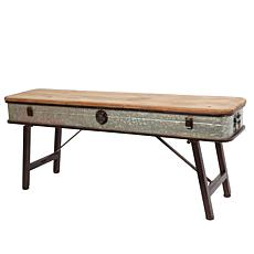 "Gerson 41.25"" Antique Bench with Natural Stained Wood Top"