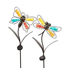 """Gerson 41.7""""H Solar Lighted Metal & Glass Dragonfly Yard Stakes-2 Pack"""