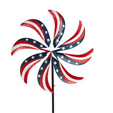 "Gerson 63"" Metal Patriotic Yard Stake with Wind Spinner"
