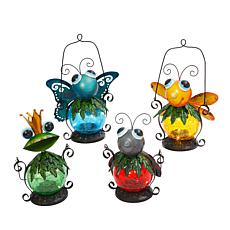 Gerson Assorted Metal and Glass Solar Garden Critter Lanterns 4-pack