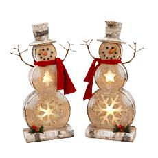 Gerson Assorted Set of 2 Poly-Resin Snowman Tabletop Figurines w/Timer