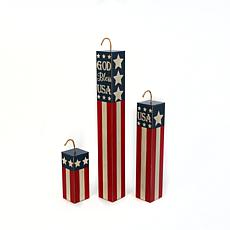 Gerson Assorted Wood Americana Firework Home Décor 3-pack