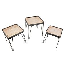 Gerson Assorted Wood and Metal Nesting Accent Tables 3-pack