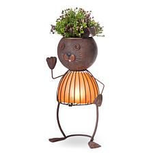 "Gerson Company 20.87"" Solar Lighted Garden Meadow Rabbit Pot Head"