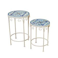 Gerson Company Blue & White Ceramic Mosaic Tile Accent Tables 2-pack