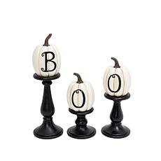 Gerson Company Resin/Stone Lettered Pumpkins on Candleholders 3-Pack