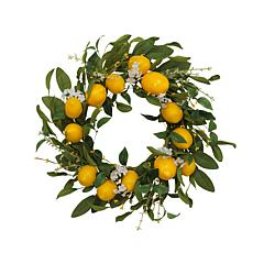 Gerson Lemon Wreath with Berry Accents