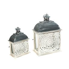 Gerson Metal and Wood Nesting Lanterns with Floral Cut-out 2-pack