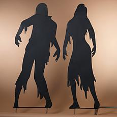 """Gerson Set of 2 Outdoor 59"""" Zombie Silhouette Stakes"""