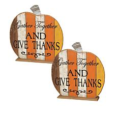 Gerson Set of 2 Wood Pumpkins