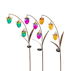 "Gerson Set of 3 Assorted 48"" Solar-Powered Metal Flower Yard Stakes"