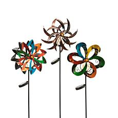 "Gerson Set of 3 Assorted 49"" Wind Spinners with Solar-Powered Lights"