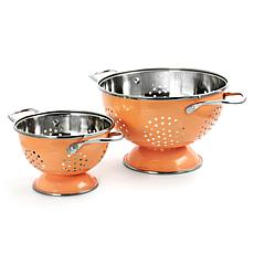 Gibson Coffee House 2pc Colander and  Strainer Set in Coral