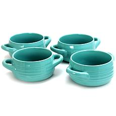 Gibson Coffee House 4-piece Set of 29.7 Oz. Turquoise Soup Bowls