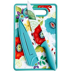 "Gibson Cristy 8"" Chef Knife with Sheath & Cutting Board in Turquoise"